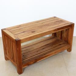 Handmade Teak Slat Coffee Table w/ Shelf (Thailand)