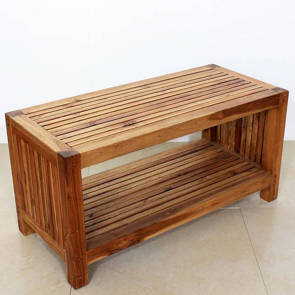 Handmade Teak Slat Coffee Table W Shelf Thailand