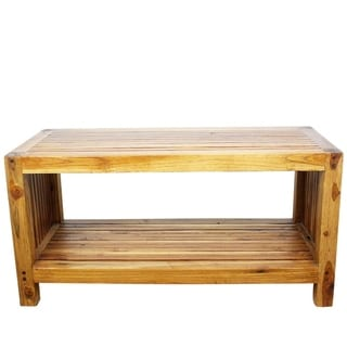 Handmade Teak Slat Coffee Table w/ Shelf (Thailand)