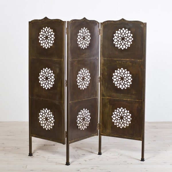 Lotus Black Lacquer Three-Panel Screen (India)