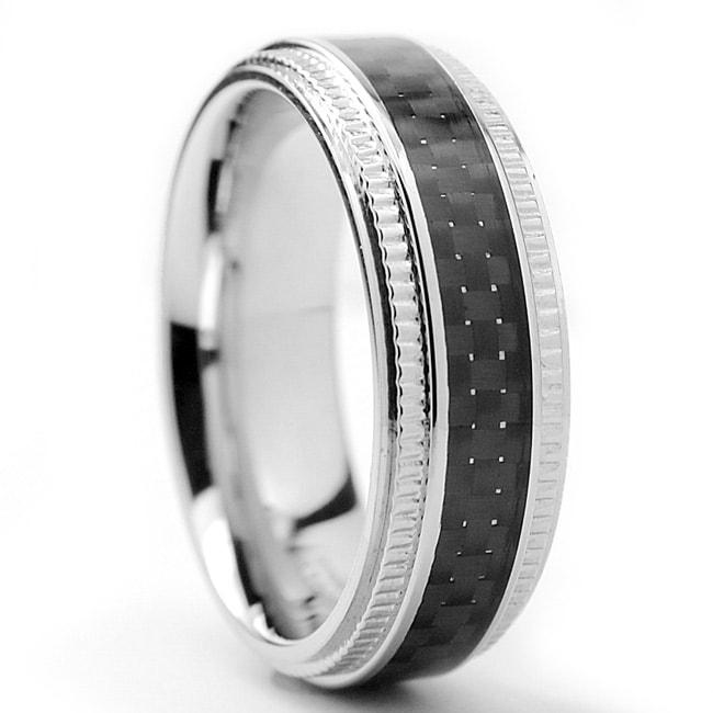 Oliveti Stainless Steel Men's Black Carbon Fiber and Milligrain Band (7 mm)