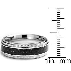 Oliveti Stainless Steel Men's Black Carbon Fiber and Milligrain Band (7 mm) - Thumbnail 2