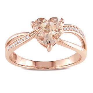 Miadora 10k Pink Gold Morganite and Diamond Accent Heart Ring