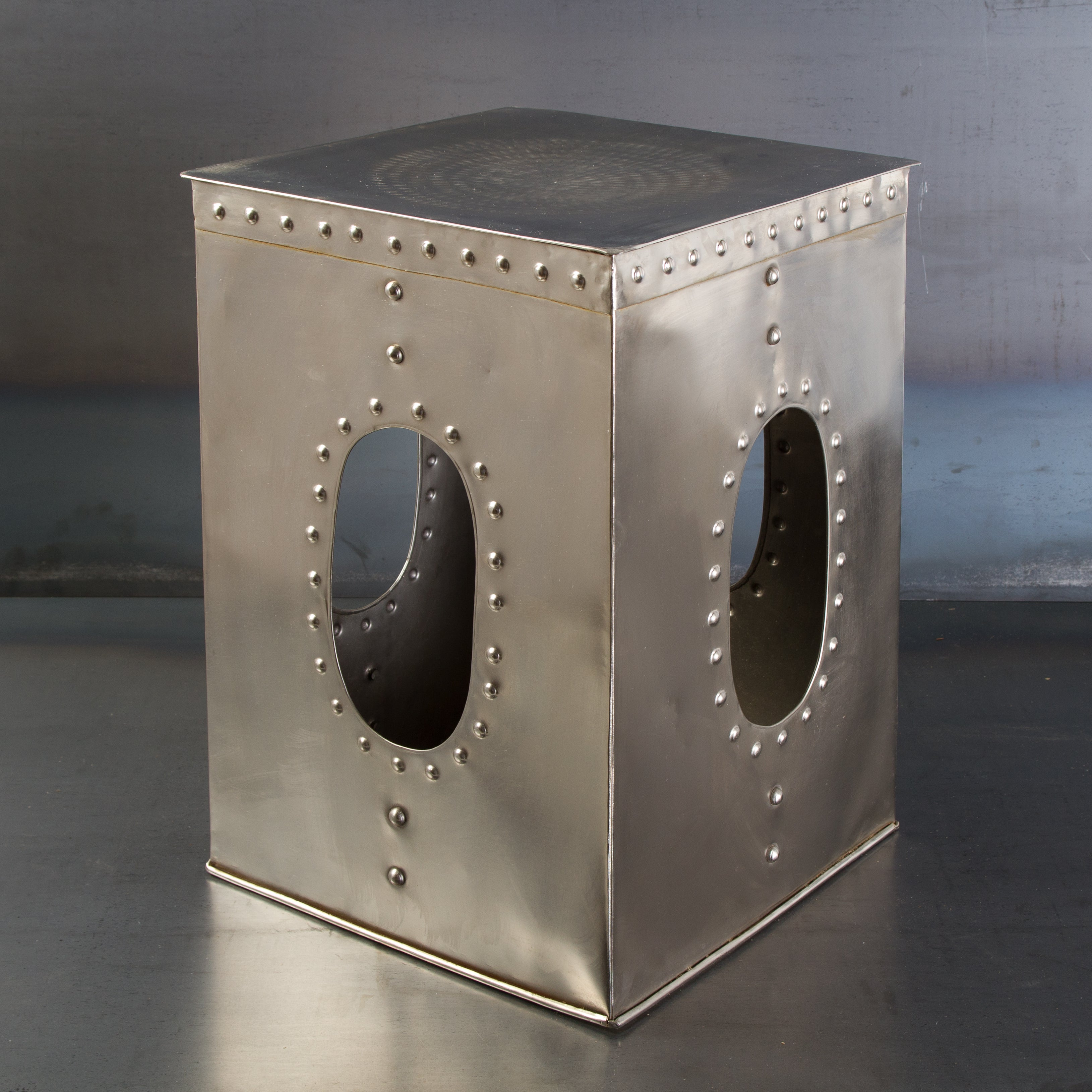 Square Mirror Nickel Rivet Stool (India)