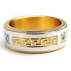 Oliveti Goldplated Stainless Steel Cubic Zirconia Greek Key Design Ring (8 mm)