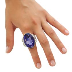 Michelle Monroe Purple and White Crystal Ring Made with SWAROVSKI Elements