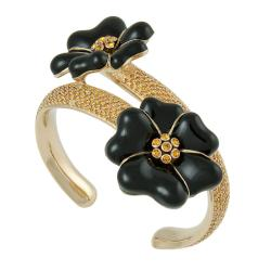 MIchelle Monroe Goldtone Yellow Flower Cuff Bracelet Made with SWAROVSKI Elements