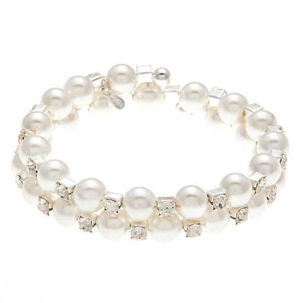 Roman Silvertone Faux Cream Pearl Crystal Wrap Bracelet