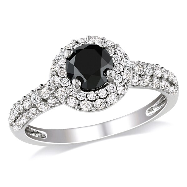 Miadora 10k White Gold 1 1/3ct TDW Black and White Diamond Halo Ring