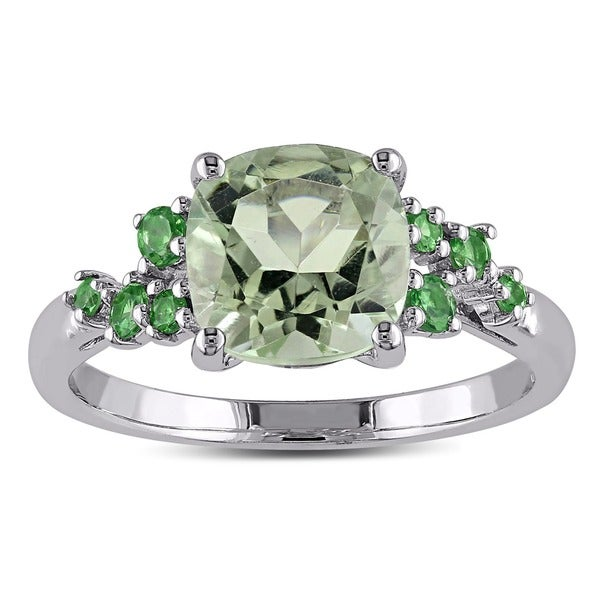 Miadora Sterling Silver 2 1/3ct TGW Green Amethyst and Tsavorite Fashion Ring