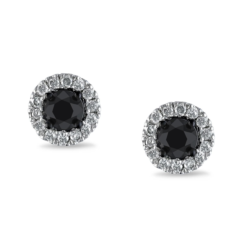 Miadora 14k White Gold 1ct TDW Black and White Diamond Halo Earrings