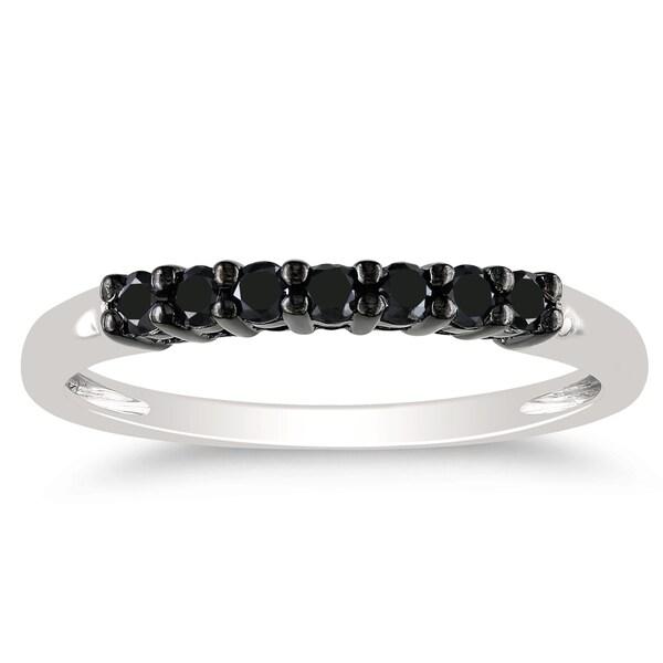 Miadora 10k White Gold 1/4ct TDW Black Diamond Ring
