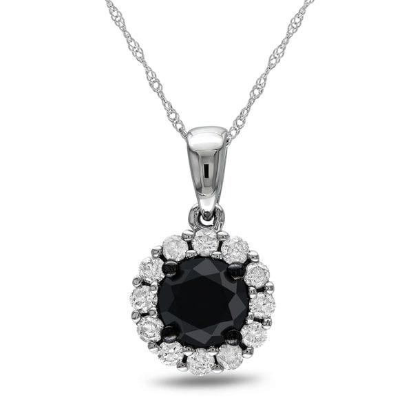 Miadora 14k White Gold 1ct TDW Black and White Diamond Necklace