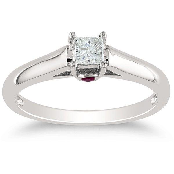 Miadora 14k White Gold 1/4ct Princess Cut Diamond Solitaire Engagement Ring (H-I, I1-I2)