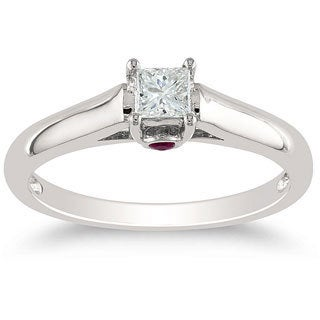 Miadora 14k White Gold 1/4ct Princess Cut Diamond Solitaire Engagement Ring