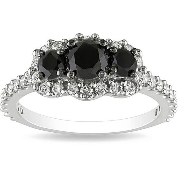Miadora 10k White Gold 1ct TDW Round-cut Black and White Diamond Ring