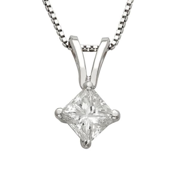 Montebello Platinum 1/2ct TDW Princess-cut Diamond Necklace. Opens flyout.