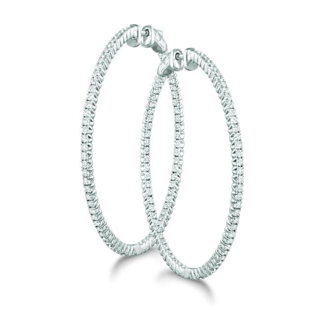 14k White Gold 1 2/5ct TDW Diamond Prong Hoop Earrings (H-I, I1-I2)