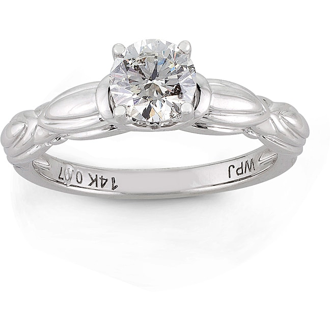 14k White Gold 5/8ct TDW Round Diamond Engagement Ring (H-I I1)