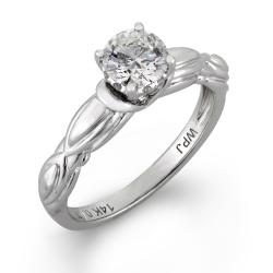 14k White Gold 5/8ct TDW Round Diamond Engagement Ring (H-I I1) - Thumbnail 1
