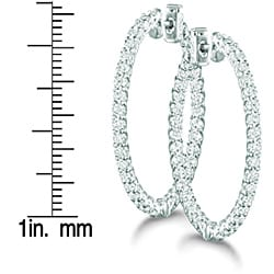 14k White Gold 3 3/4ct TDW Diamond Prong Hoop Earrings (H-I, I1-I2)