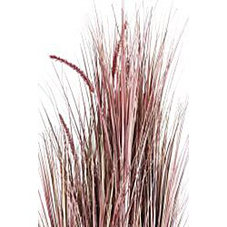 Laura Ashley Realistic Silk Burgundy Onion Grass and Cattails Floor Plant with Contemporary Planter