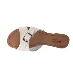 Elegant by Beston Women's 'SANDRI-6' White Buckle Flat Sandals