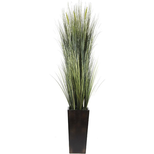 Laura Ashley Realistic Silk Green Onion Grass and Cattails Floor Plant with Contemporary Planter