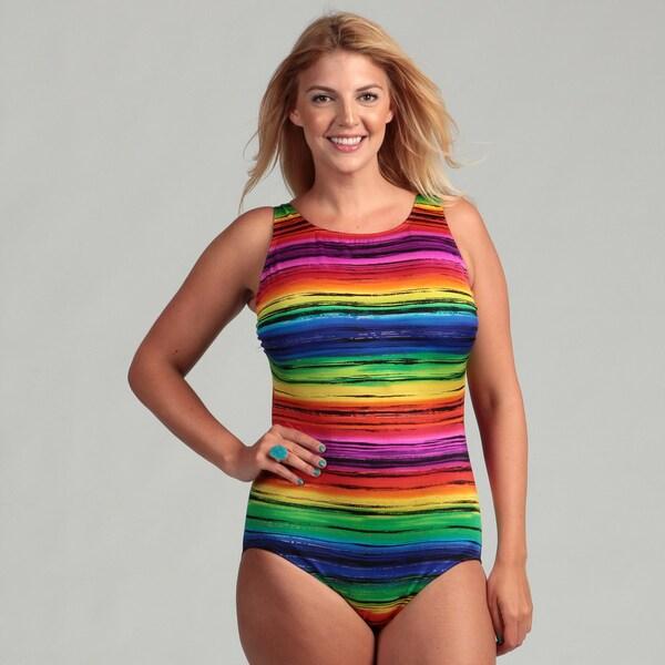 c369cd90b1 Longitude Women  x27 s Plus Size 1-piece Rainbow Stripe Swimsuit. Click to  Zoom