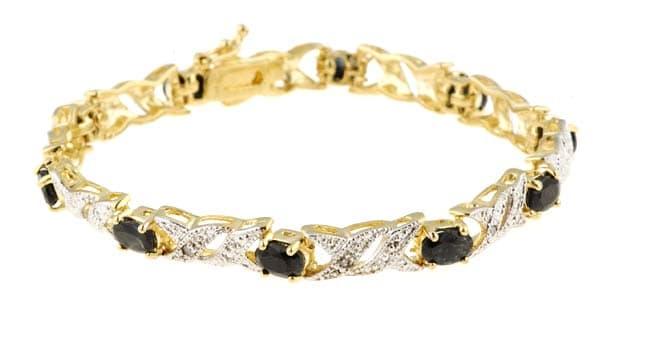 Glitzy Rocks Glitzy Rocks 18k over Sterling Silver Sapphire Diamond Bracelet