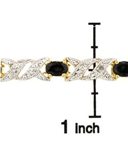 Glitzy Rocks Glitzy Rocks 18k over Sterling Silver Sapphire Diamond Bracelet - Thumbnail 2