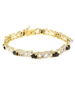 Glitzy Rocks Glitzy Rocks Over Sterling Silver Sapphire Diamond Bracelet