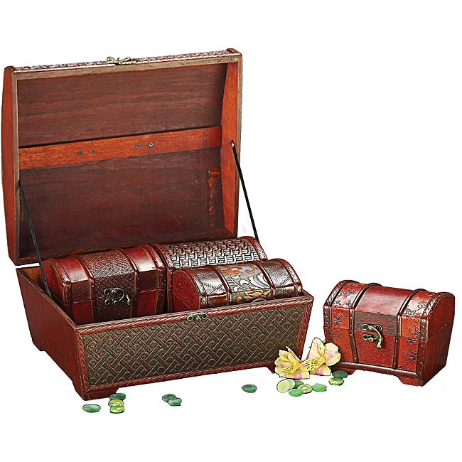 Deep Brown Faux Weaved Leather Boxes (Set of 4)