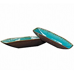 Sea Blue with Pewter Bottoms Ceramic Trays (Set of 2)