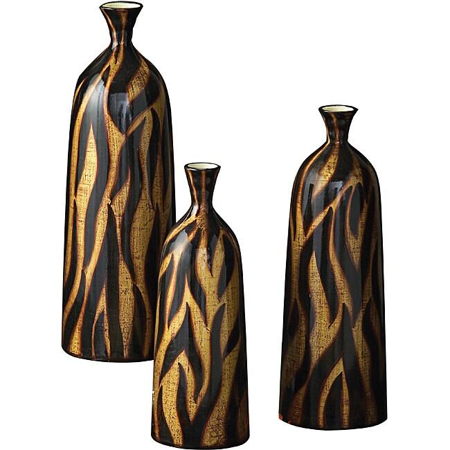 Copper, Gold and Black Glazed Ceramic Vessels (Set of 3)