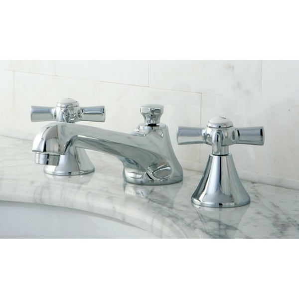 Chrome Widespread Bathroom Faucet with Cross Handles. Chrome Widespread Bathroom Faucet with Cross Handles   Free