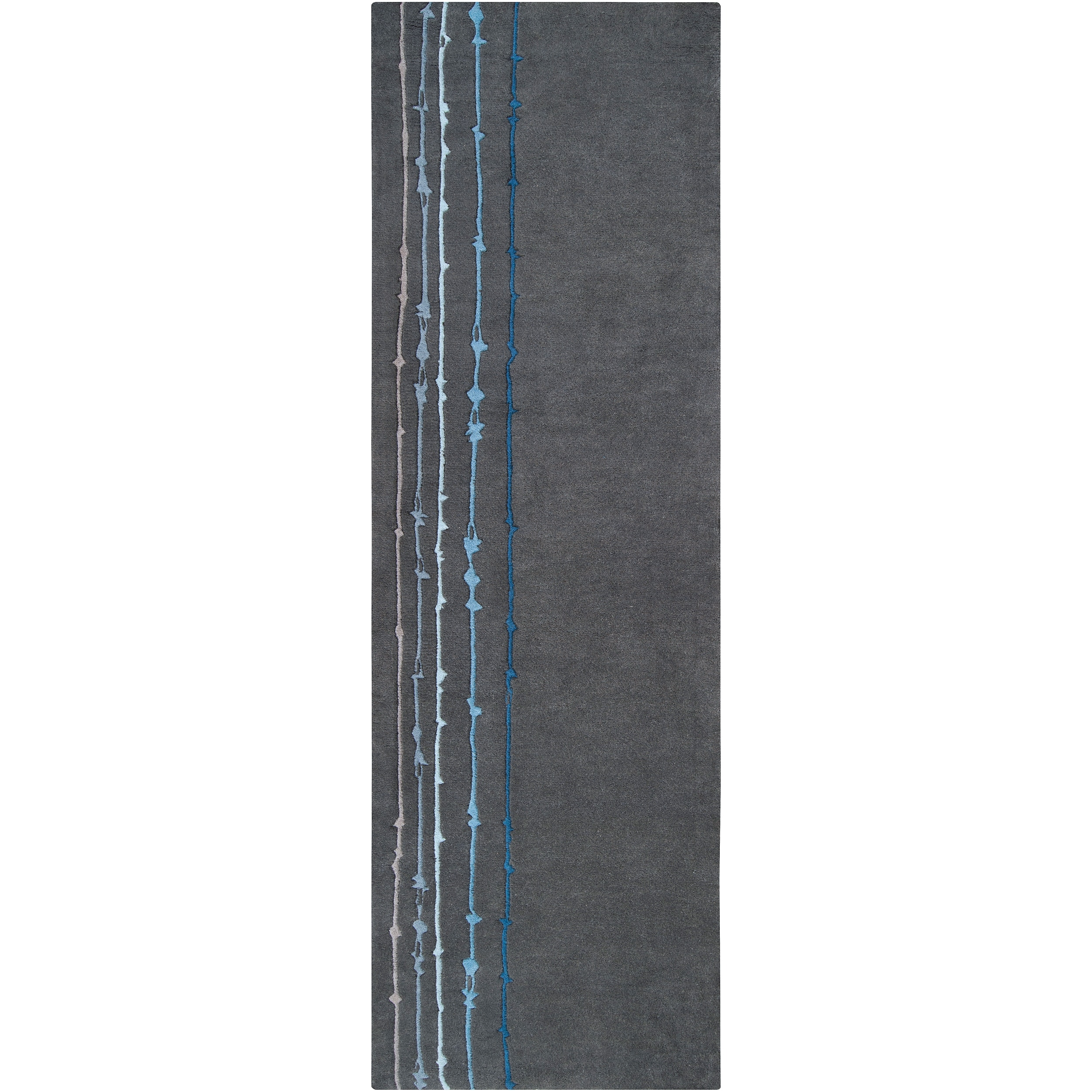 Noah Packard Hand-tufted Grey/ Blue Contemporary Tigris New Zealand Wool Abstract Rug (2'6 x 8')