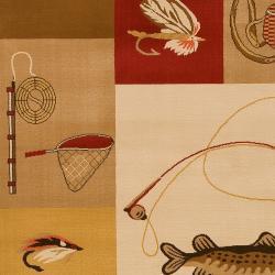 Dick Idol Meticulously Woven Tan/Red Southwestern Lodge Bayburt Rug (5'3 x 7'7)
