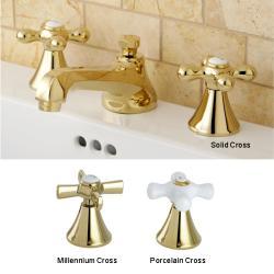Cross-Handle Polished Brass Widespread Bathroom Faucet