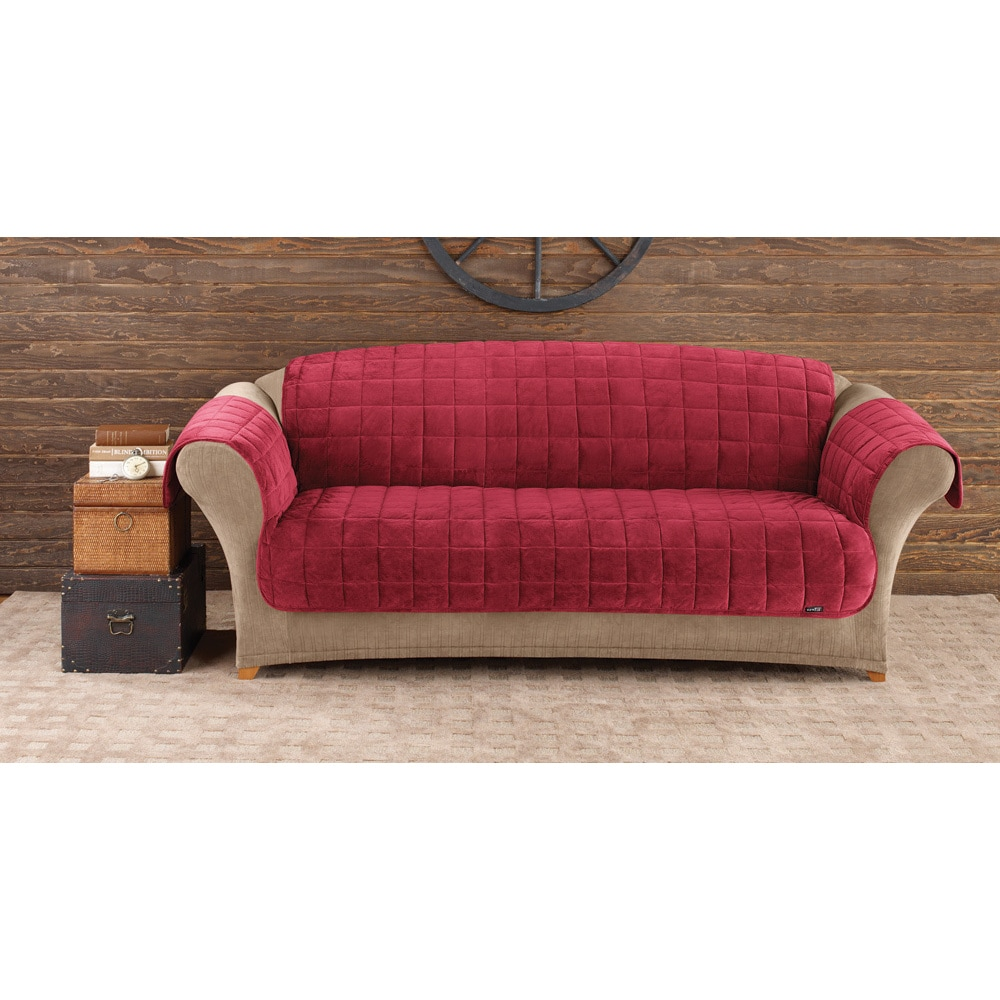 Sure Fit Deluxe Sofa Comfort Cover (Burgundy), Red (Solid)