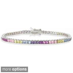 Icz Stonez Sterling Silver Multicolor CZ Bracelet
