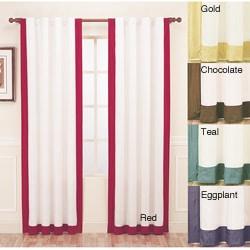 Thumbnail 1, Passage Silk Contrast Banding 84-inch Curtain Panel - 42 x 84.