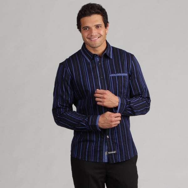 English Laundry Men's Variegated Stripe Woven Shirt