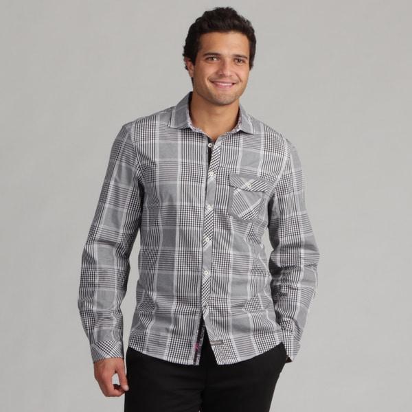 English Laundry Men's Black Plaid Woven Shirt