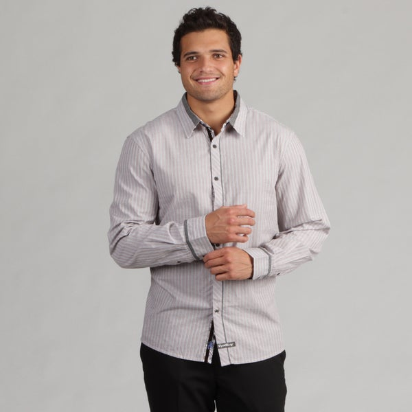 English Laundry Men's Thin Striped Woven Shirt