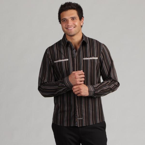 English Laundry Men's Striped Woven Shirt