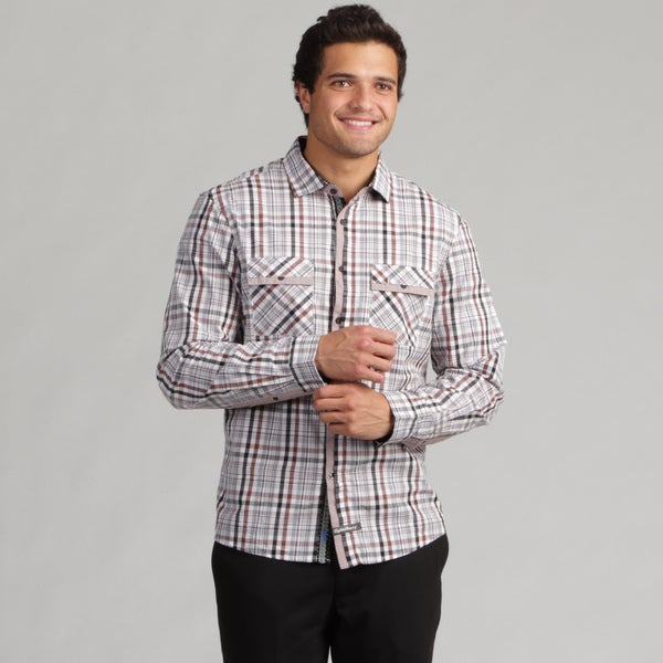English Laundry Men's Large Plaid Dot Collar Woven Shirt
