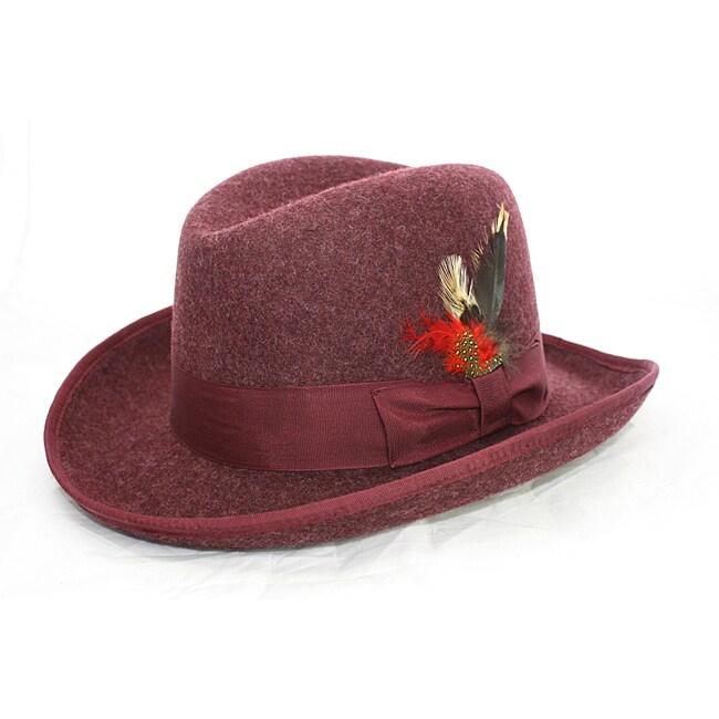 Ferrecci Men's Burgandy Godfather Hat