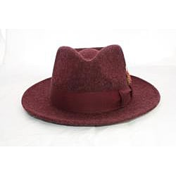 Ferrecci Men's Burgundy Wool Fedora Hat with Feather - Thumbnail 1