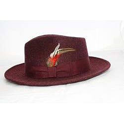Ferrecci Men's Burgundy Wool Fedora Hat with Feather - Thumbnail 2